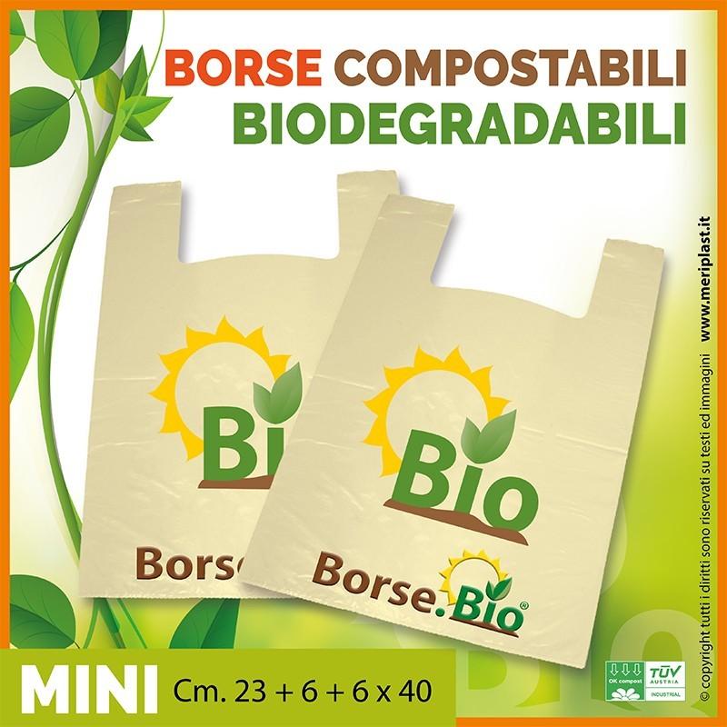 Shoppers mini generiche Cm. 23 + 6 + 6 x 40 compostabili biodegradabili UNI EN 13432
