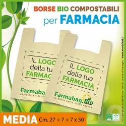 Shoppers per Farmacia personalizzate medie Cm. 27 + 7 + 7 x 50 compostabili biodegradabili UNI EN 13432