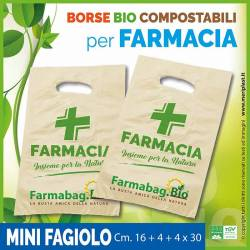 Shoppers per Farmacia generiche mini fagiolo Cm. 16 + 4 + 4 x 30 compostabili biodegradabili UNI EN 13432