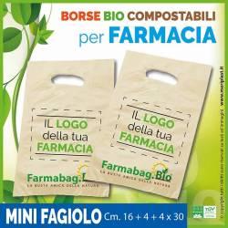 Shoppers per Farmacia personalizzate mini fagiolo Cm. 16 + 4 + 4 x 30 compostabili biodegradabili UNI EN 13432