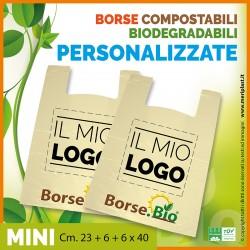 Shoppers mini personalizzate Cm. 23 + 6 + 6 x 40 compostabili biodegradabili UNI EN 13432