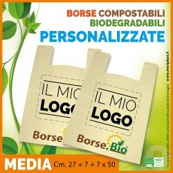Shoppers medie personalizzate Cm. 27 + 7 + 7 x 50 compostabili biodegradabili UNI EN 13432