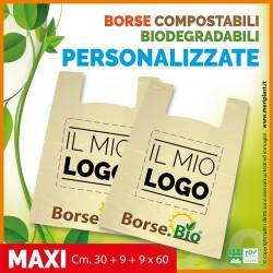 Shoppers maxi personalizzate Cm. 30 + 9 + 9 x 60 compostabili biodegradabili UNI EN 13432