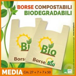 Shoppers medie generiche Cm. 27 + 7 + 7 x 50 compostabili biodegradabili UNI EN 13432