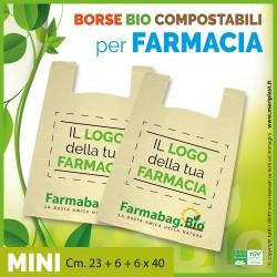 Shoppers per Farmacia personalizzate mini Cm. 23 + 6 + 6 x 40 compostabili biodegradabili UNI EN 13432