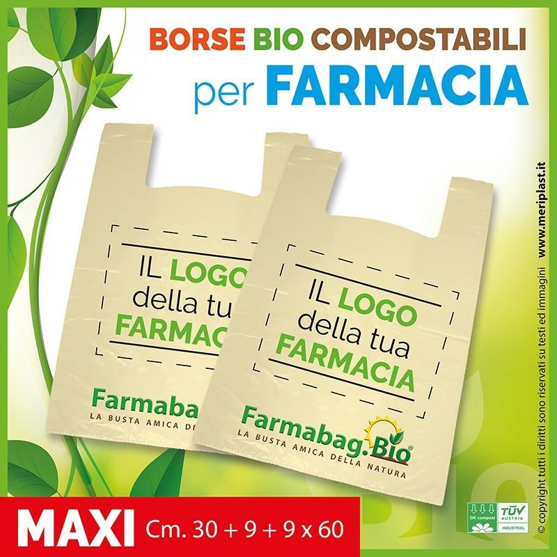 Shoppers per Farmacia personalizzate maxi Cm. 30 + 9 + 9 x 60 compostabili biodegradabili UNI EN 13432