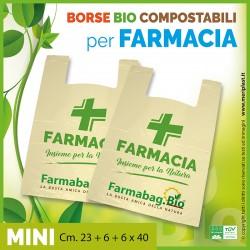 Shoppers per Farmacia generiche mini Cm. 23 + 6 + 6 x 40 compostabili biodegradabili UNI EN 13432