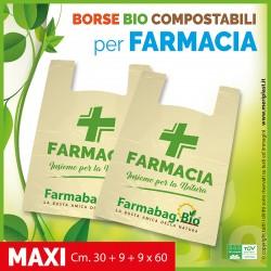 Shoppers per Farmacia generiche maxi Cm. 30 + 9 + 9 x 60 compostabili biodegradabili UNI EN 13432
