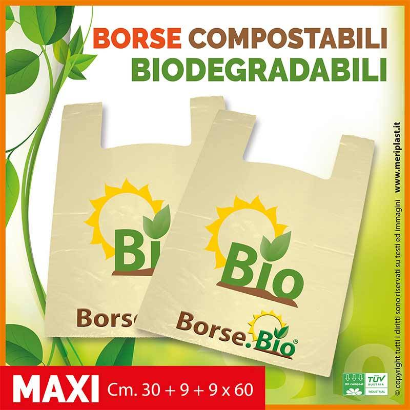Shoppers maxi generiche Cm. 30 + 9 + 9 x 60 compostabili biodegradabili UNI EN 13432