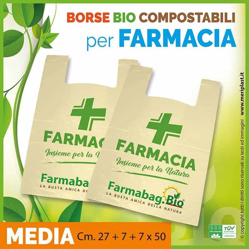 Shoppers per Farmacia generiche medie Cm. 27 + 7 + 7 x 50 compostabili biodegradabili UNI EN 13432